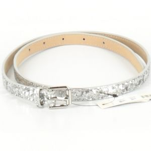 Cole Haan skinny belt silver size small